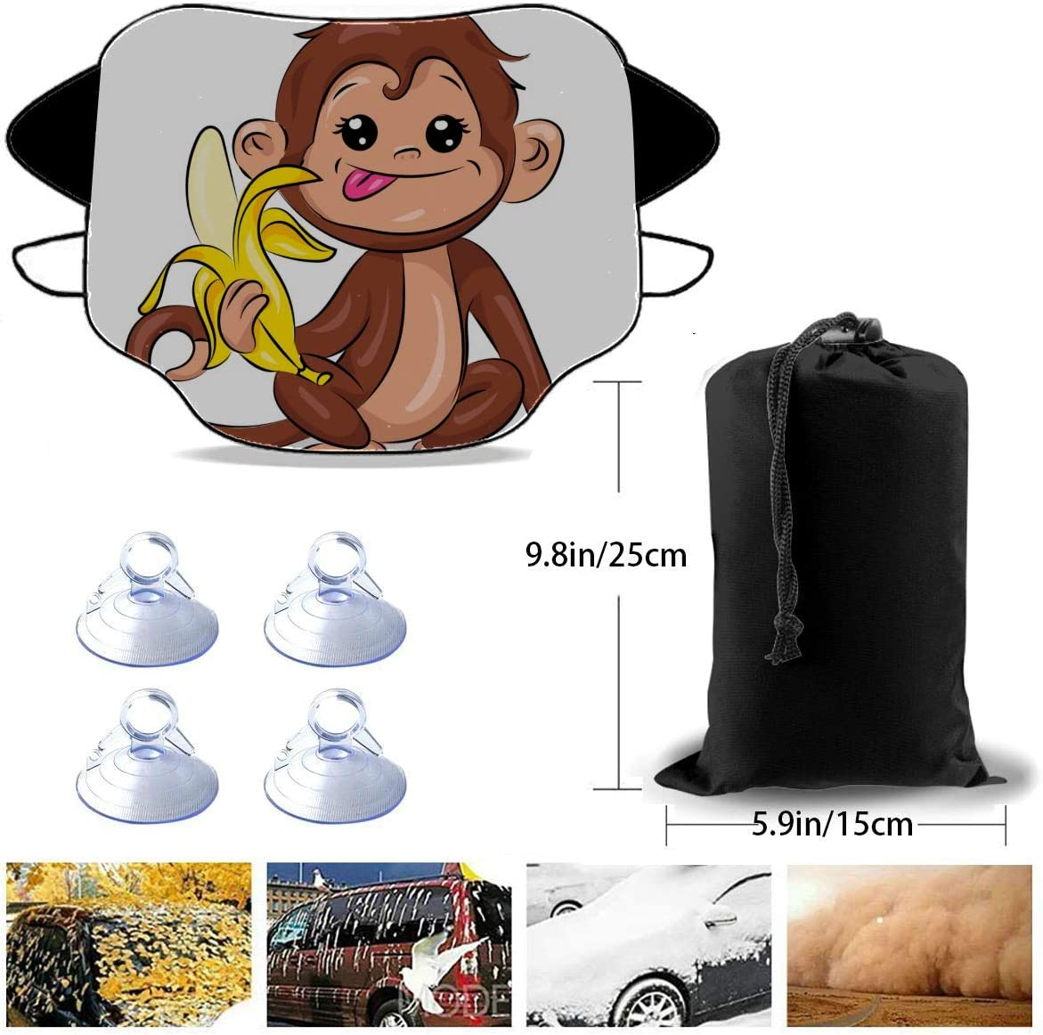 Zouxab Foldable Sunshade Cover Lucky Happy Little Monkey Cartoon Front Window Shade 57.9x46.5 Inch(147cmx118cm) for Most Vehicles by Protect The Windshield and Wiper from Sun,ice,Snow,Frost