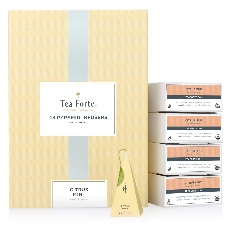 Tea Forté BULK PACK Citrus Mint Herbal Tea, 48 Handcrafted Pyramid Tea Infusers by Tea Forte