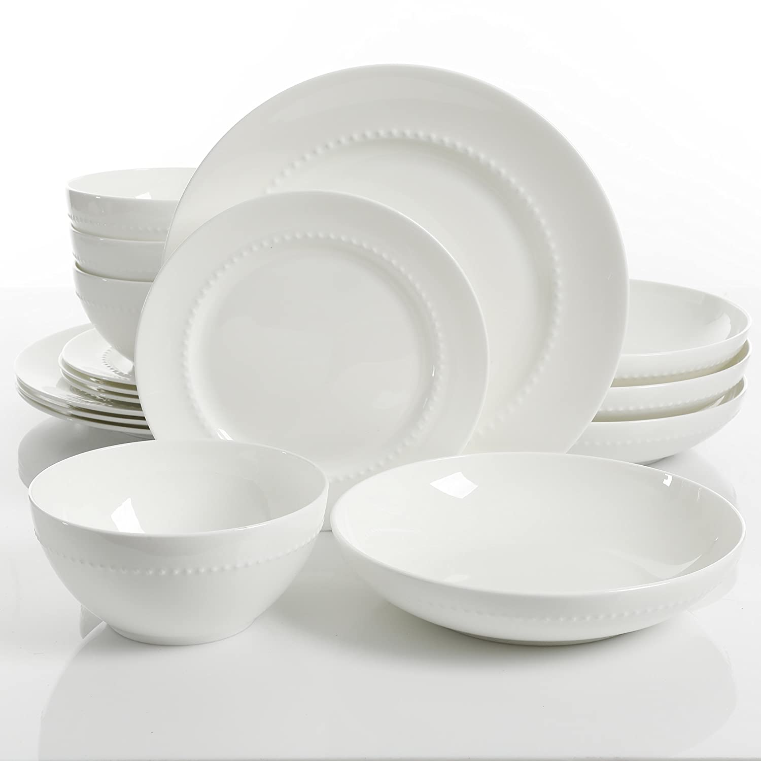 Gibson Elite 99846.16RM Embossed Bone China 16 PIece Double Bowl Dinnerware Set White