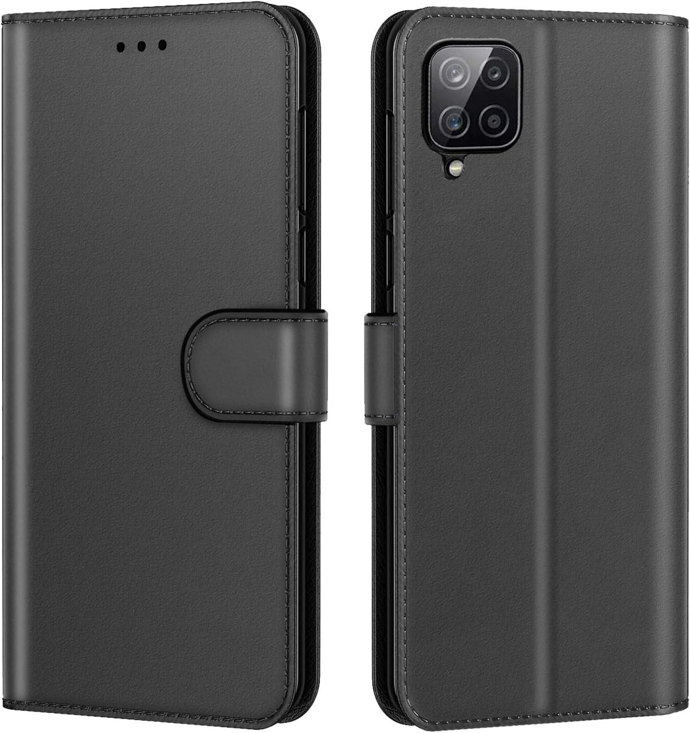 Fermeture Magn/étique /à Clapet Anti-Choc Noir New/&Teck Coque pour Samsung Galaxy A12 Housse Etui Portefeuille Cuir Multifonction