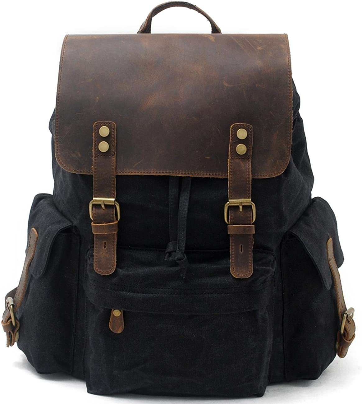 "SUVOM Vintage Canvas Genuine Leather Laptop Backpack for Men School Bag 15.6"" Water Resistant Travel Rucksack"