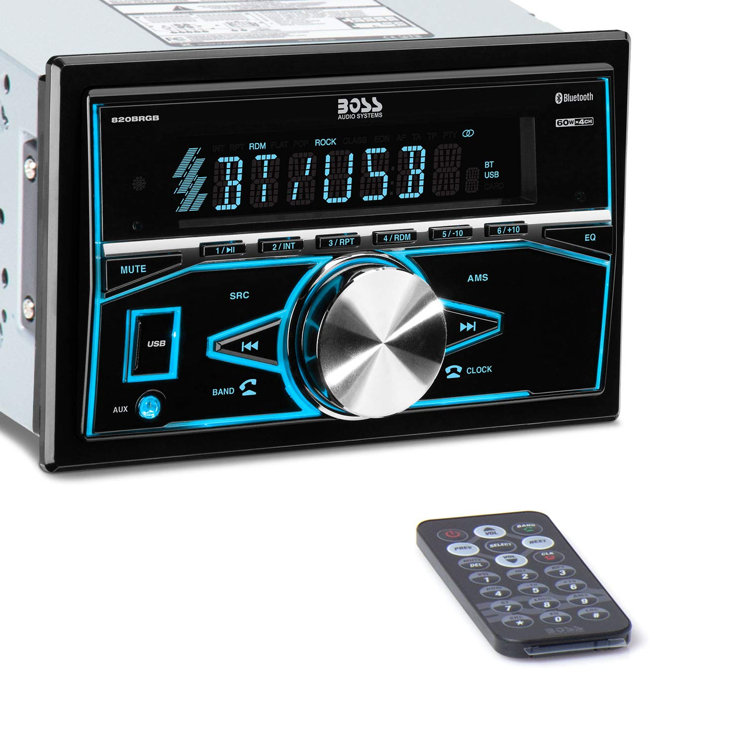 BOSS Audio Systems 820BRGB Multimedia Car Stereo - Double Din, Bluetooth Audio and Hands-Free Calling, MP3 Player, USB Port, AUX Input, AM/FM Radio Receiver, No CD/DVD, Multi Color Illumination by BOSS Audio Systems