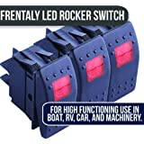 Frentaly Red 12V 20 Amp Waterproof ON Off Custom Marine Boating Vehicle 4 Pin Control Toggle Rocker Switch Kit 6X Pack