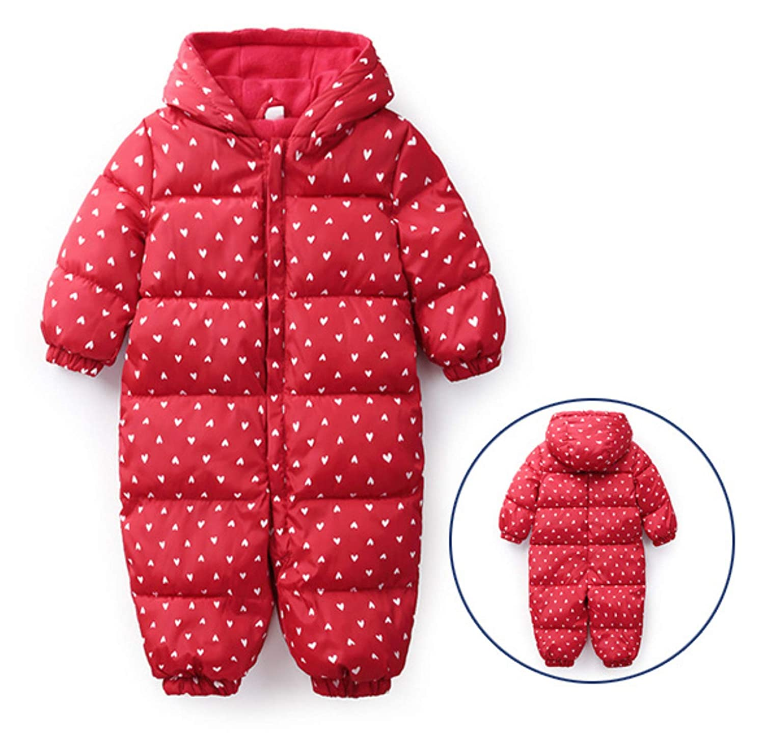 JIAJIAMIN Baby Girls Boys Romper Down Jacket Hooded Jumpsuit Winter Warm Thick Coat Onesie Snowsuit Clothes