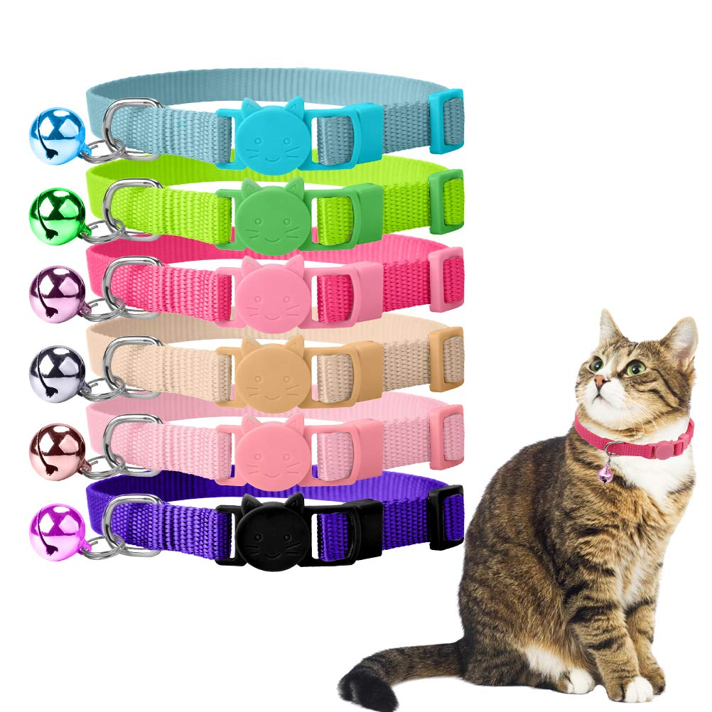 OFPUPPY 6 Pack Cat Collars Set Breakaway Nylon Bright Colors with Bell for Kitty Kitten