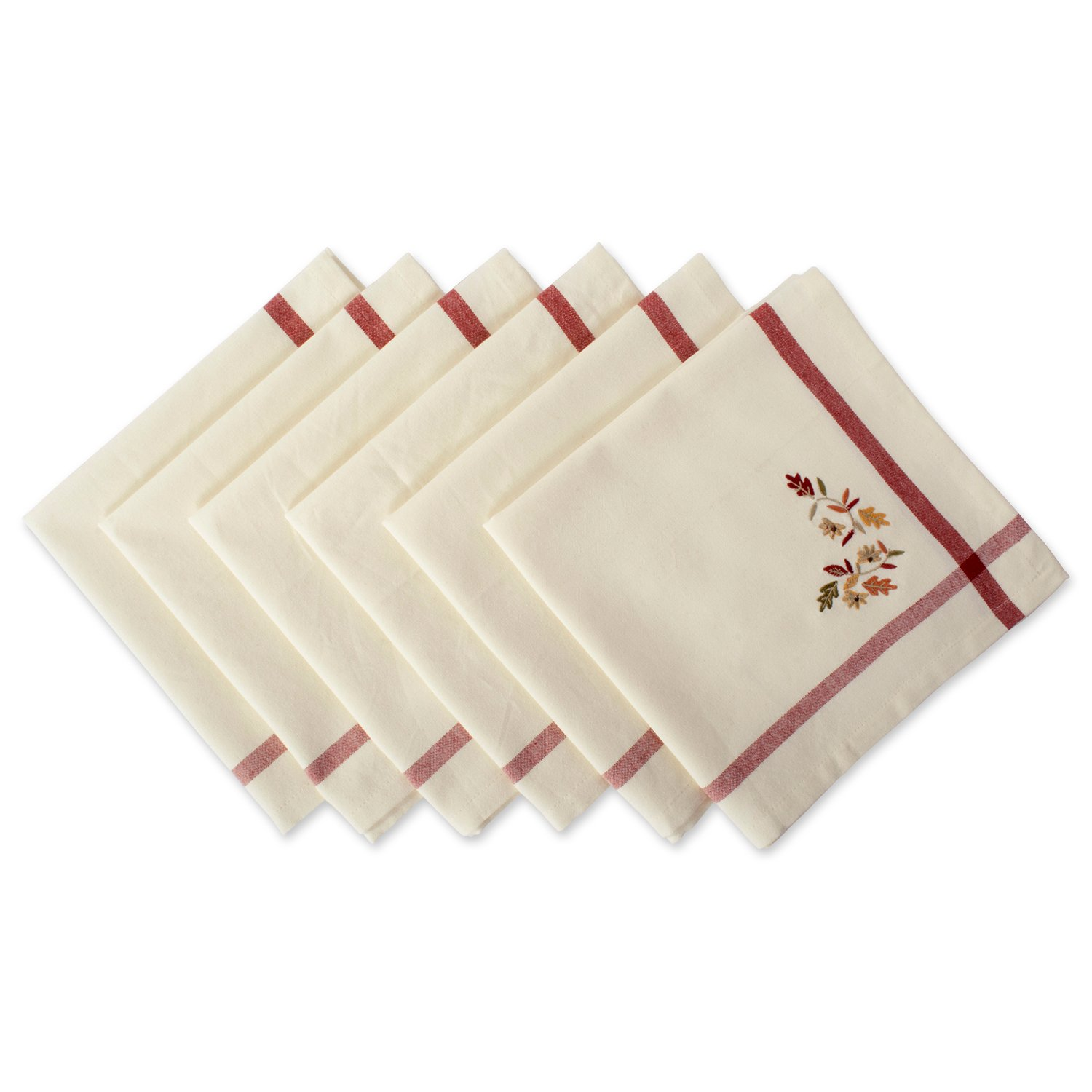 DII Oversized 20x20'' Cotton Napkin, Pack of 6, Cream with Embroidered Autumn Leaves - Perfect for Thanksgiving, Dinner Parties, Friendsgiving and Fall
