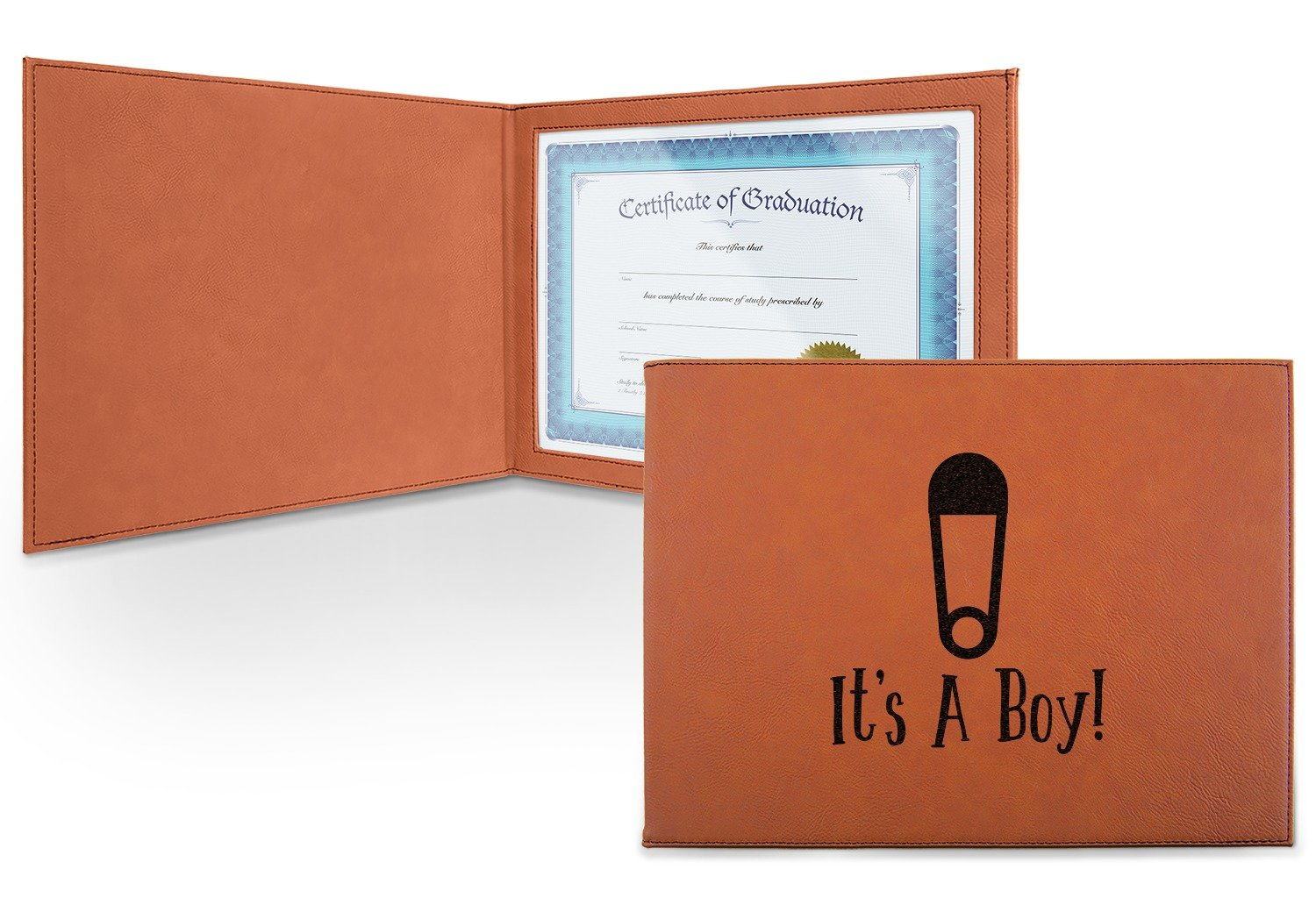 Baby Shower Leatherette Certificate Holder - Front (Personalized)