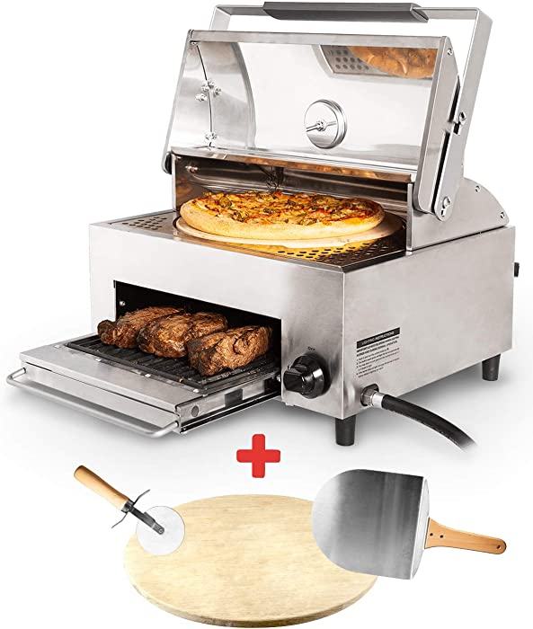 Capt'n Cook Ovenplus Salamander Grill - All in One Portable Gas Grill, Oven, and Stove with Pizza Stone, Cutter, and Peel, Stainless Steel Double Cooking Design Saves Time, Effort, Clean-Up and Money