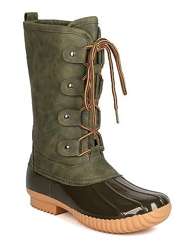 363a5d16e8d Nature Breeze GA25 Women Mixed Media Mid-Calf Lace Up Duck Boot - Olive (