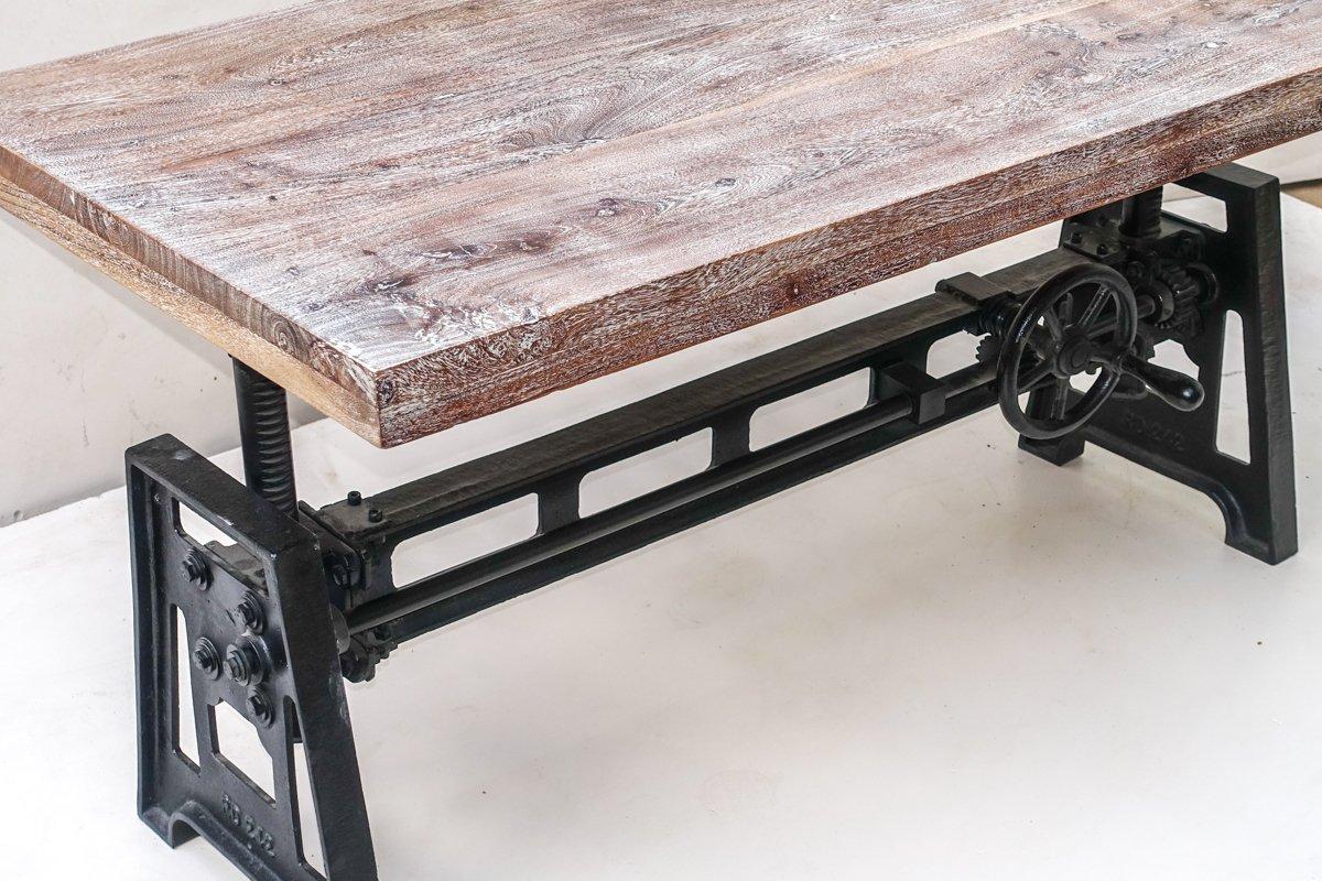 Mesa baja madera y soporte hierro fundido abatibles manivela mueble House: Amazon.es: Hogar
