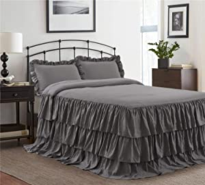 HIG 3 Piece Ruffle Skirt Bedspread Set King-Gray Color 30 inches Drop Ruffled Style Bed Skirt Coverlets Bedspreads Dust Ruffles- Echo Bedding Collections King Size-1 Bedspread, 2 Standard Shams