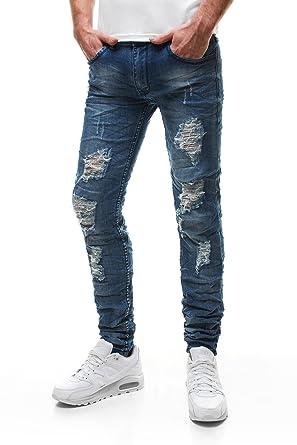 Pantalon Déchiré Droite Homme Skinny Ozonee Coupe Jeans qS5EwPCp