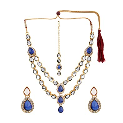 f795584c31b Archi Collection Ethnic Traditional Gold Plated Kundan Polki Crystal  Layered Multi Strand Necklace Maang Tikka with Earrings Jewellery Set for  Women