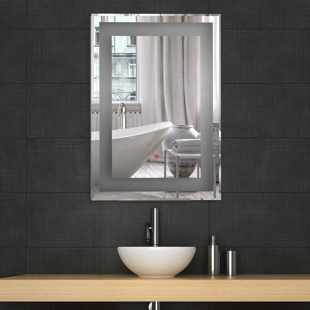 Backlit mirrors for bathrooms u s a together with boffis thirteen to - Amazon Com Decoraport 36 Square Led Bathroom Mirror Illuminated Lighted Vanity Wall Mounted Mirror With Touch Button A Ck168 E Home Kitchen