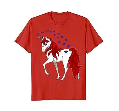 0adf9d67 Amazon.com: Patriotic American Red White Blue Unicorn T-shirt: Clothing