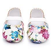 HONGTEYA Girls Dance Ballet Mary Jane Flats Shoes Print Rubber Sole Bottom Baby Moccasins Sandals (18-24M/5.51inch, White Flower)