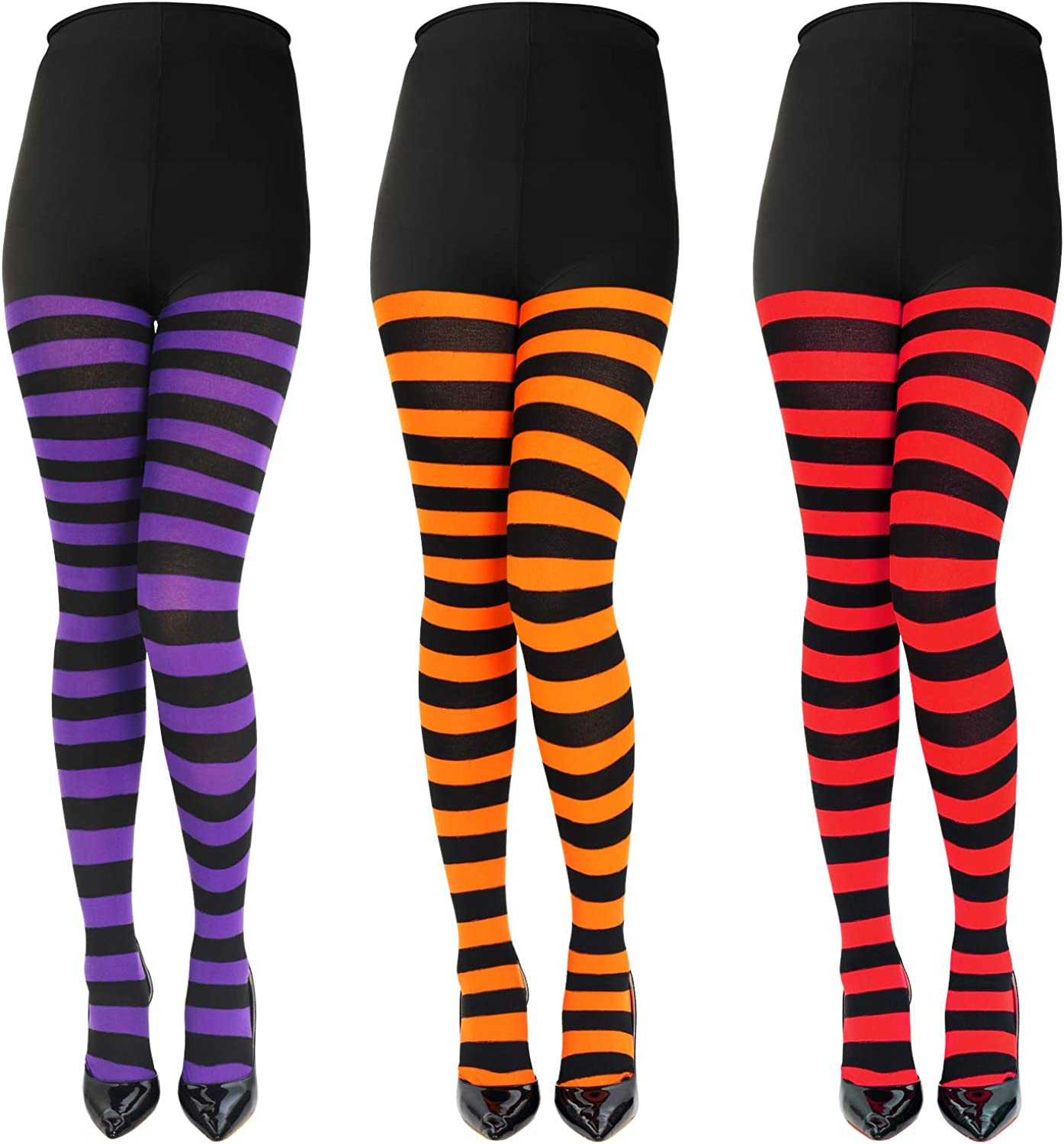 Adult Size 4 Pairs Halloween Striped Stockings Full Length Black and White Halloween Tights Pantyhose for Women Girls
