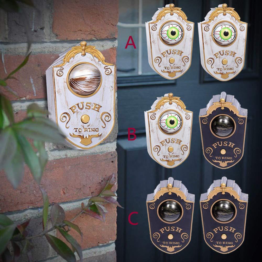 Bar BaojunHT Halloween-Türklingel mit leuchtenden Augen und Stimm-Dekorationen Party Tür 2*White Spielzeug für Spukhäuser