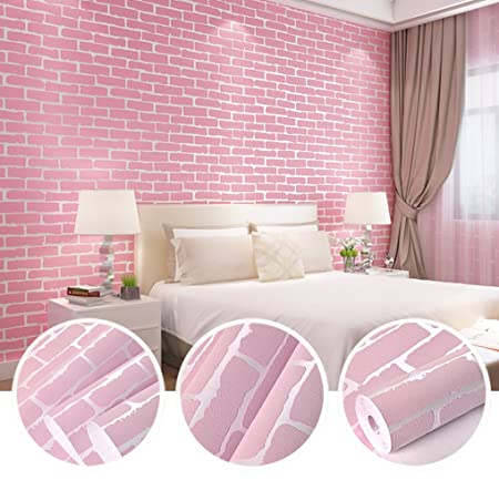 N.SunForest Pink 3D Elasticity Self-Adhesive Peel and Stick Brick ...