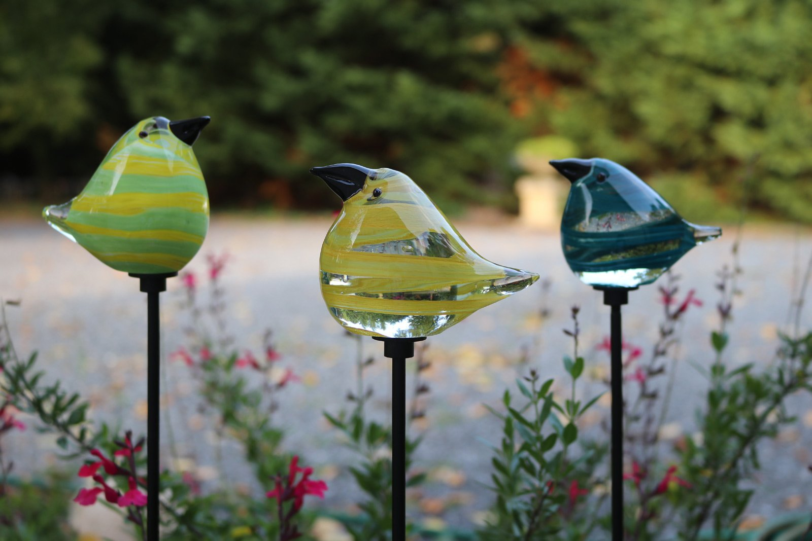 Marshall Glass Bird Garden Stakes - 3 Colors - 28'' Stake