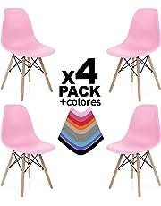 duehome - Nordik- Pack 4 sillas de Comedor, Salon, Cocina o Escritorio, Acabado en Madera de Haya, Medidas: 47 cm Ancho x 56 cm Fondo x 81 cm Altura