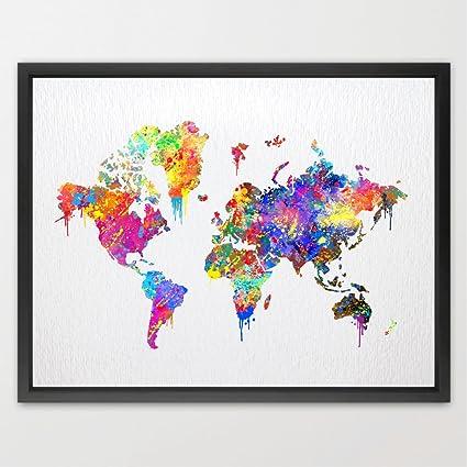 Dignovel studios pster de mapa del mundo acuarela impresin regalo dignovel studios pster de mapa del mundo acuarela impresin regalo de bodas para nios pared arte gumiabroncs Images