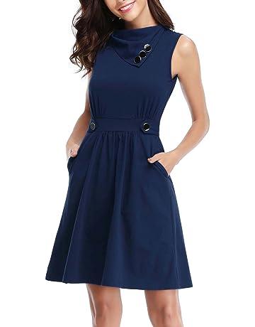 HUHOT Women s Sleeveless Cowl Neck Summer Casual Flared Midi Tank Dress  with Pocket fb930b126