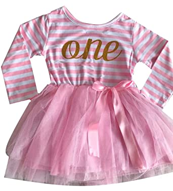 Little Secrets 1st First Birthday Girls Stripe Pink Tutu Party Dress 1 Year Old Amazoncouk Clothing
