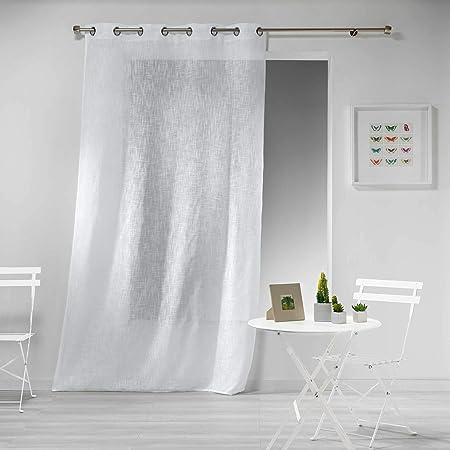 douceur dint/érieur panneau a oeillets 140x280 cm voile voiline blanc