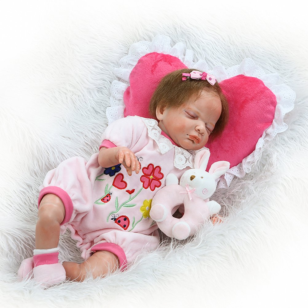 Collectible Dolls Reborn Babies Look Real Newborn Sleep Girl Rooted Mohair with Pillow,20-Inch