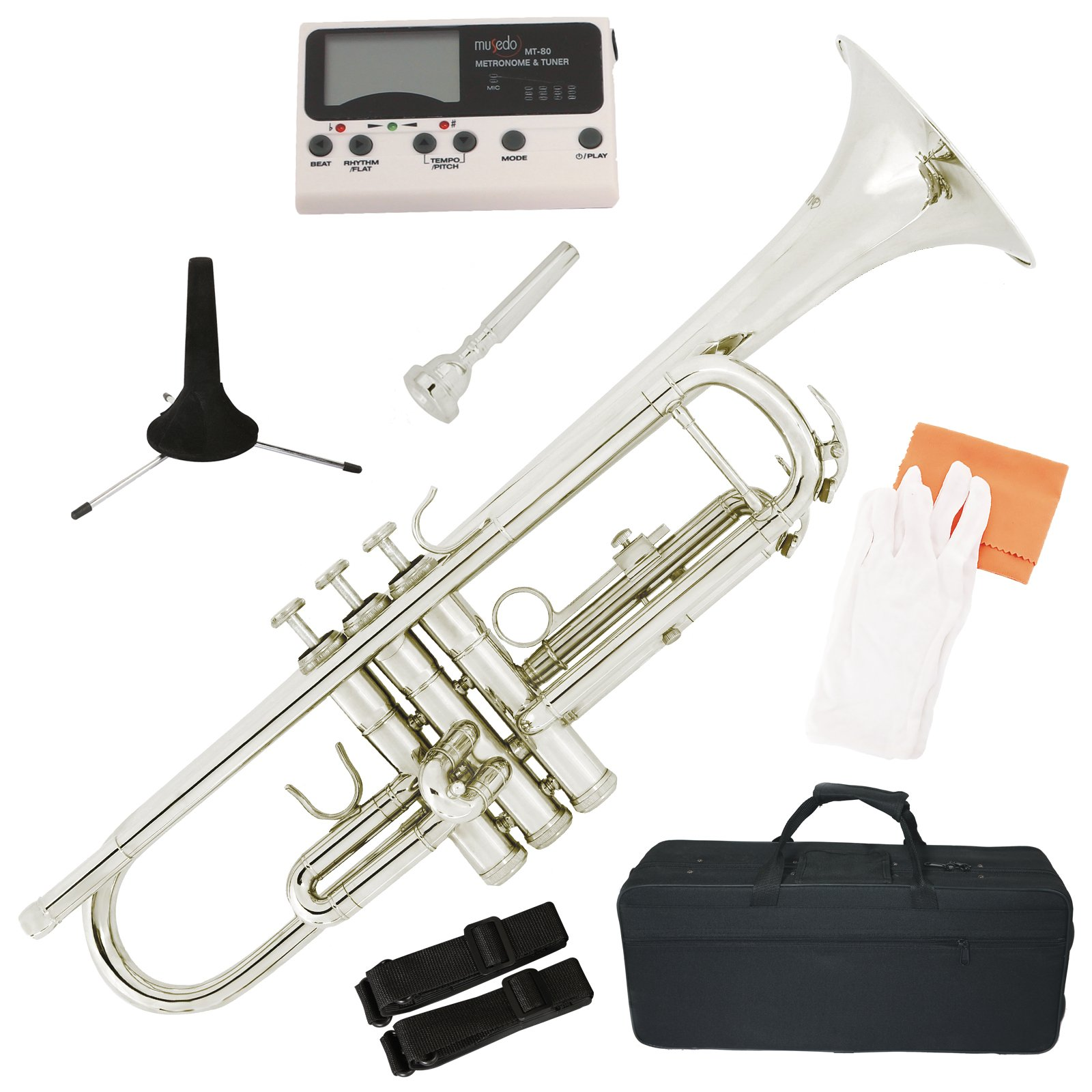 LAGRIMA Brass Bb Trumpet Nickel Silver Plated with Tuner, Case,Mouthpiece,Care Kit for Beginner Student Band
