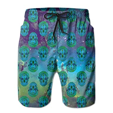 653548de38 Peacock Skull Men's Swim Trunks Quick Dry Swimming Volley Beach Board  Shorts Mesh Lining White
