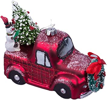 Amazon Com Raz Imports Christmas Car And Truck Glass Ornaments Set Of 2 Red Green Furniture Decor