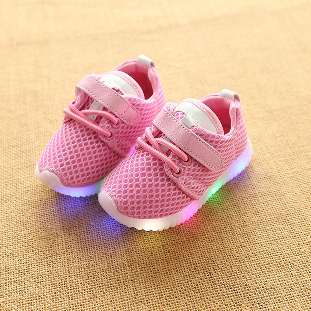 DAYUANDIAN Kids Sport Shoes,LED Light up Mesh Light Weight Breathable Sports Running Sneakers Shoes for Toddler Baby Girls Boys