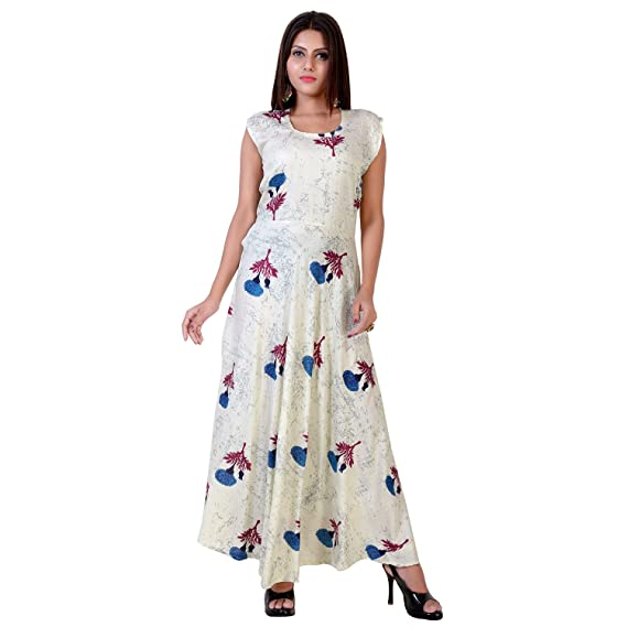 fabcolors Women s Rayon Floral Print Long One Piece Dress (Off White ... fa45e1f74