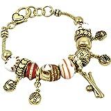 Baseball Theme Murano Glass Charm Bracelet 7.5 Inch