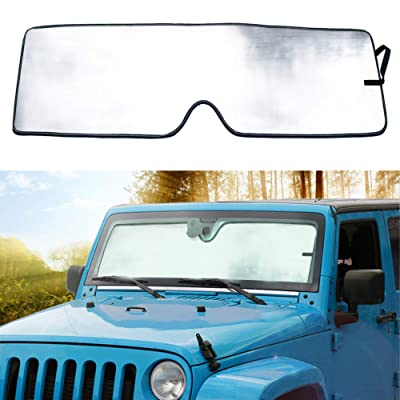 Sporthfish Front Windshield Sunshade Custom-fit Sun Shade for 2007-2020 Jeep Wrangler JK: Automotive