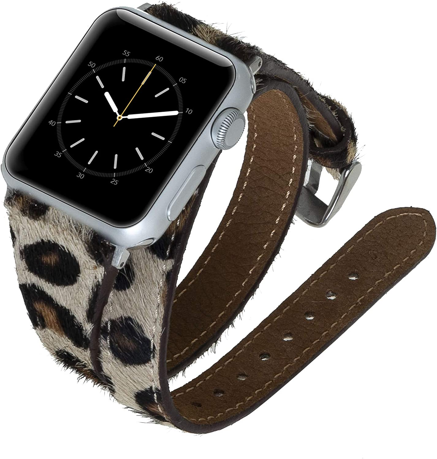 Venito Serena Slim Double Wrap Leather Watch Band Compatible with The Newest Apple Watch iwatch Series 6 as Well as Series 1,2,3,4,5 (Furry Leopard w/Silver Stainless Steel Hardware, 38mm-40mm)