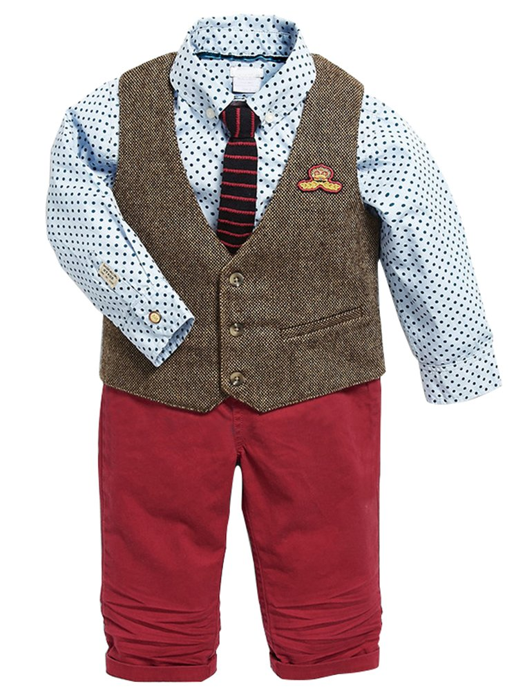 Abolai Baby Boy's 3 Piece Suit with Dot Print Casual Shirt,Vest and Pant Blue 100
