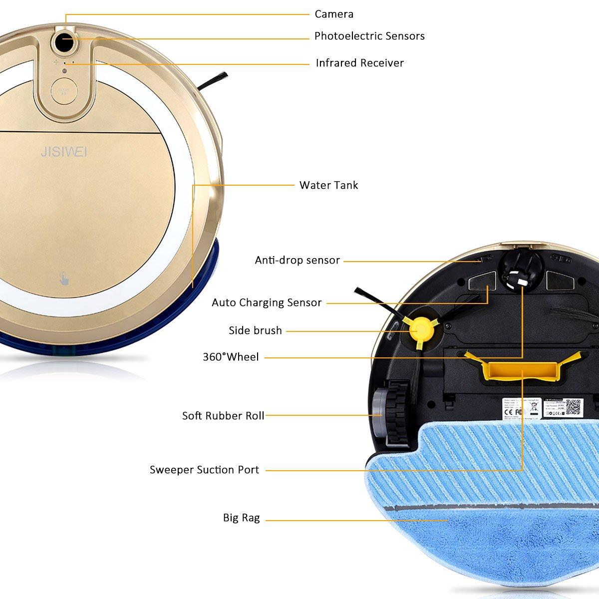 JISIWEI I3 - Robot Aspirador con Cámara HD Incorporada (APP Remoto Control, Sistema Anticolisión, Compatible con IOS y Android) (Dorado): Amazon.es: Hogar