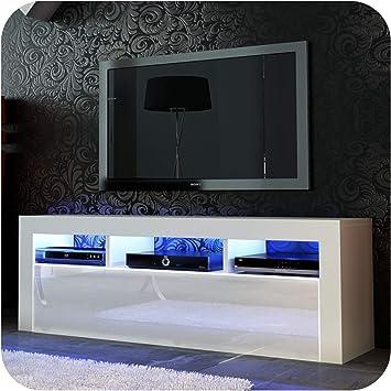Nuevo! Mueble para TV de 130 cm + Blanco o Negro + Puerta de acrílico de Alto Brillo + Flotante/de pie + LED con Mando a Distancia Small White Matt + White Gloss: Amazon.es: Electrónica