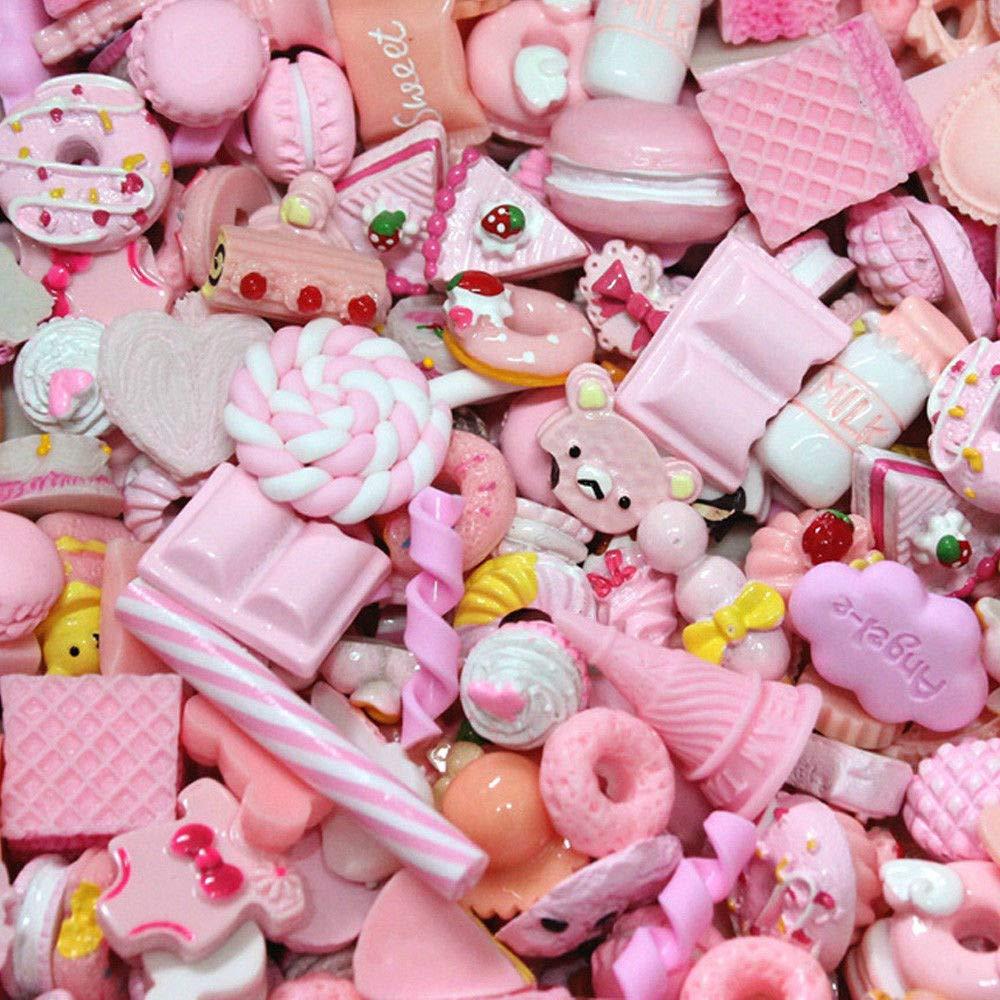 Yong Li Factory ILOVE DIY Lot DE 20 Jeu dimitation Cuisine Mini Kawaii Gâteau Biscuit Alimentaire Donuts Nourriture Jouet Enfant Bleu
