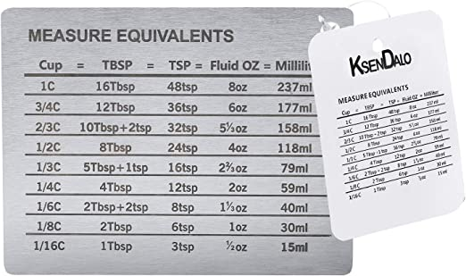 Measurement Conversion Chart With Strong Magnet Backing Ksendalo Stainless Measurement Conversions For Cups Tablespoons Teaspoons Fluid Oz And