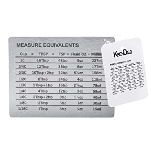 Measurement Conversion Chart with Strong Magnet Backing, KSENDALO Stainless Measurement Conversions For Cups, Tablespoons, Teaspoons, Fluid Oz and Milliliters,Silver