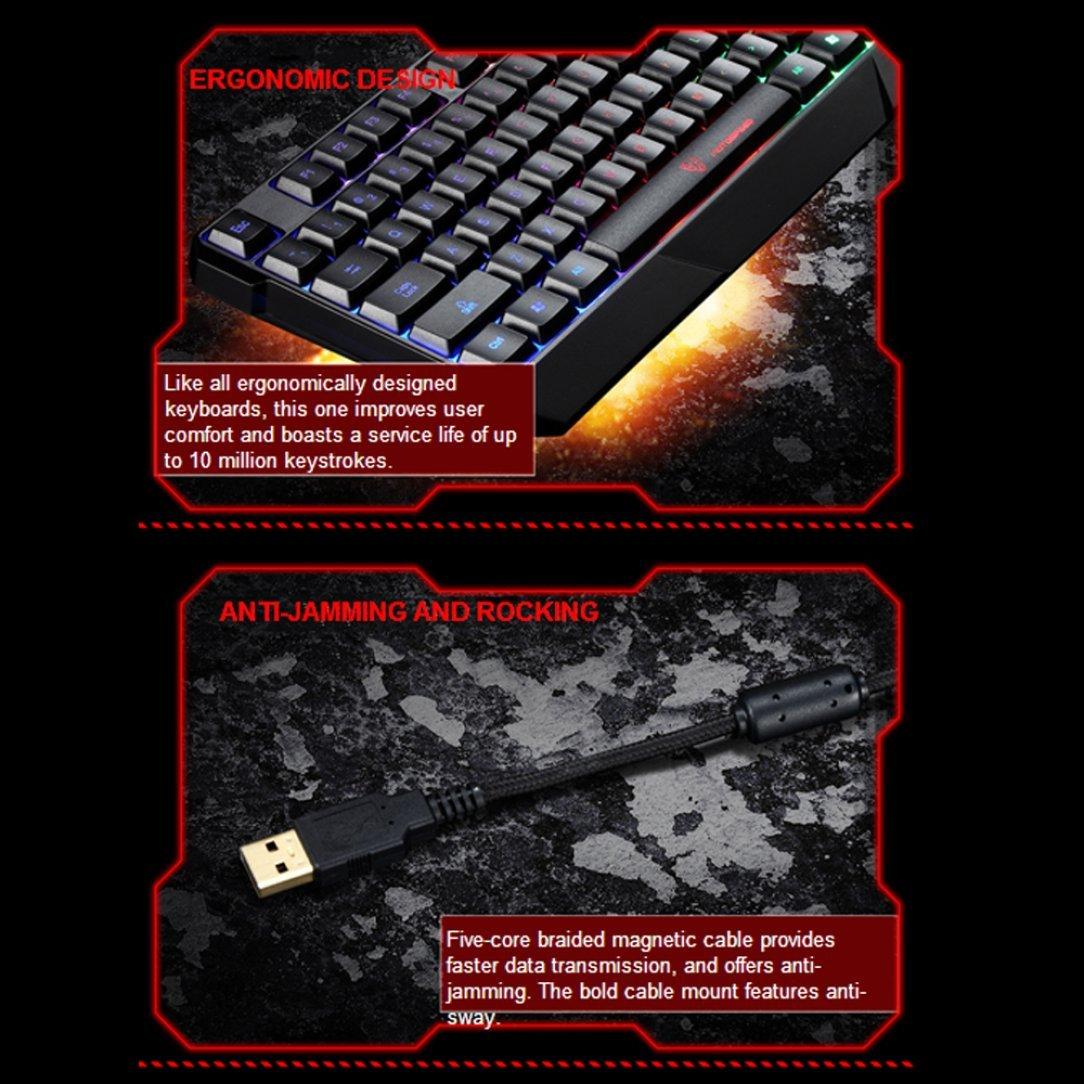 Gaming Keyboard,Womail Motospeed K70 Waterproof Colorful LED Illuminated Backlit USB Wired Keyboard