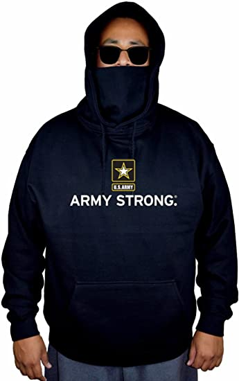 Mens US Army Strong Black Mask Hoodie Sweater Black