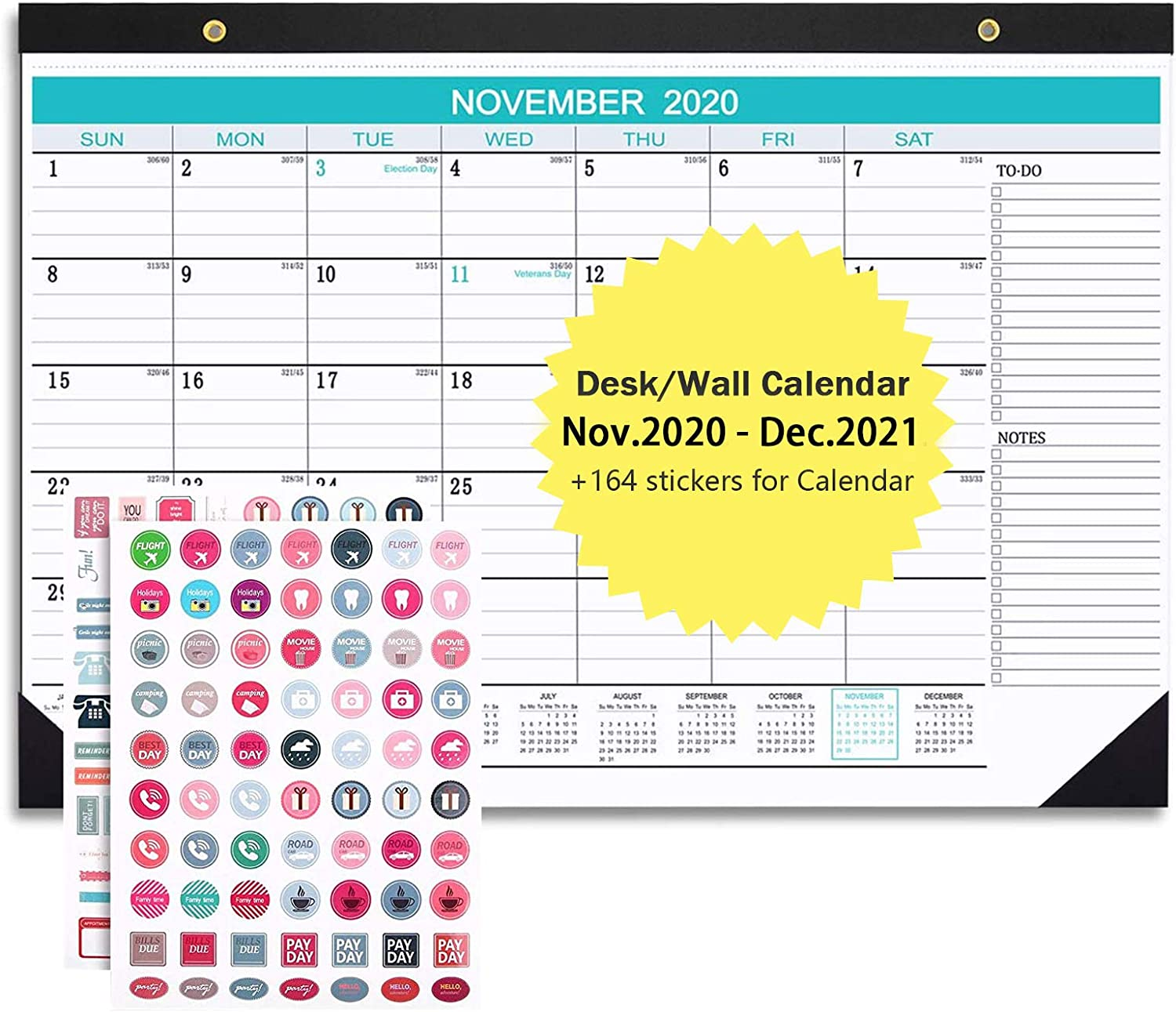 """2021 Desk Calendar, Wall Calendar with Transparent Cover, Ruled Blocks, Marked Holidays, Julian Date and Planner Stickers Perfect for Home, School, Office for Planning, Learning, Organizing, 17""""x 12"""""""