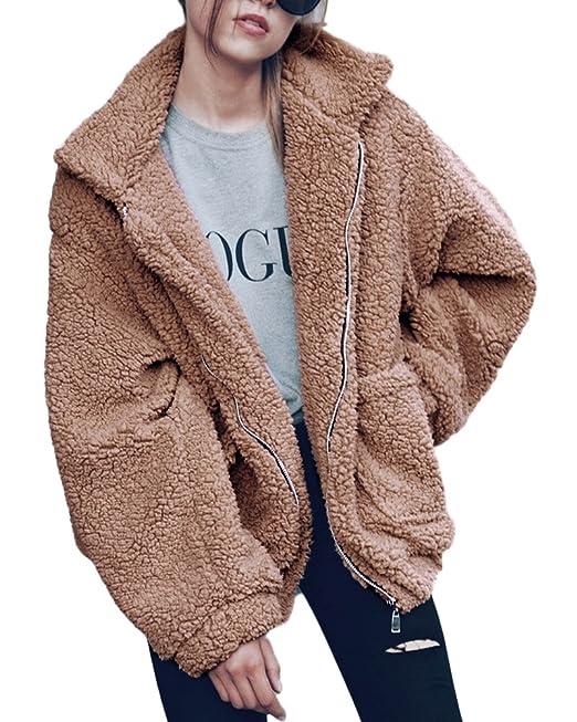 Minetom Mujer Otoño Invierno Calentar Chaqueta De Moda Manga Larga Peluche Cremallera Abrigo Talla Grande Parka Blazer Outwear: Amazon.es: Ropa y accesorios