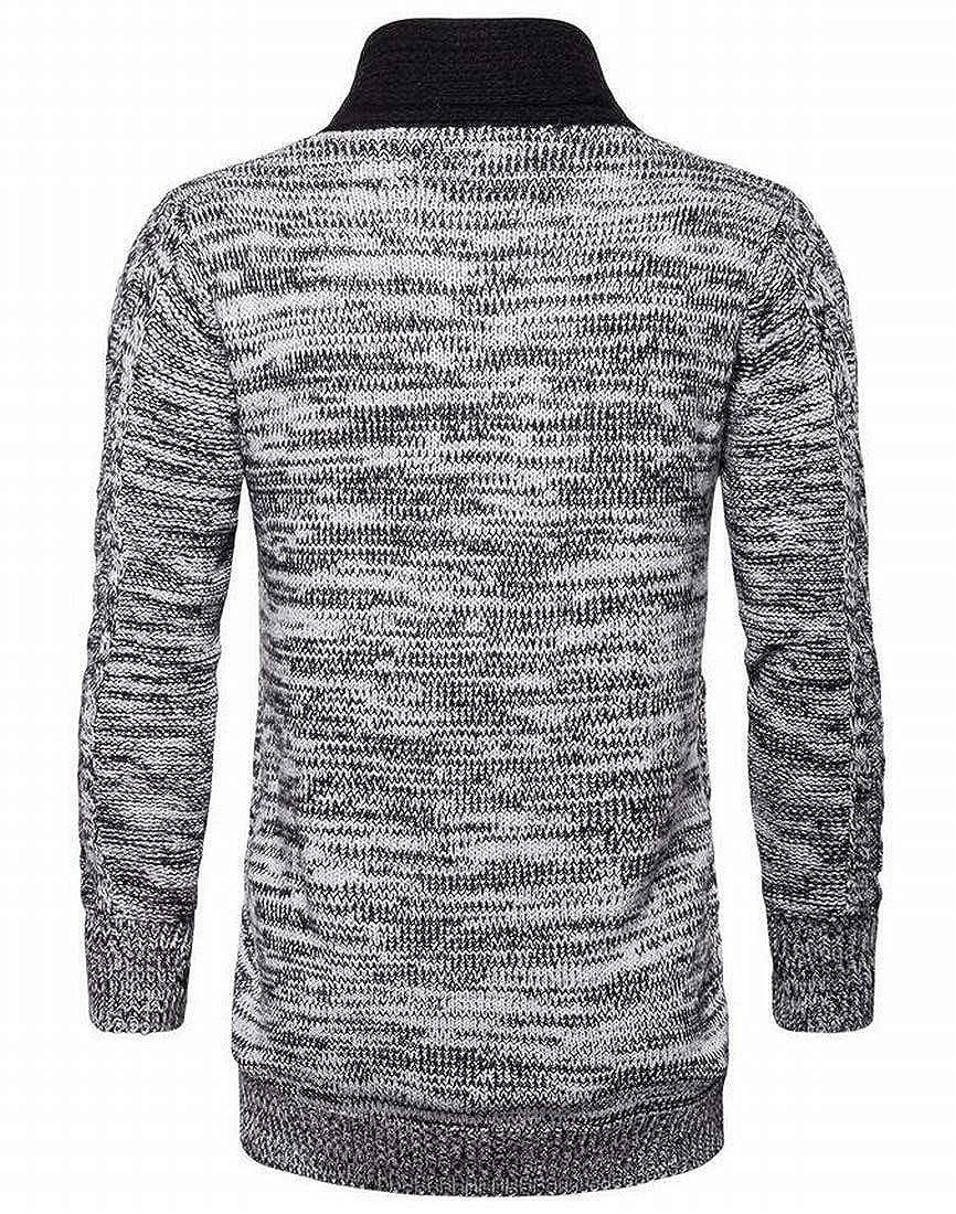 KLJR Men Classic Slim Fit Open-Front Shawl Collar Cardigan Sweater