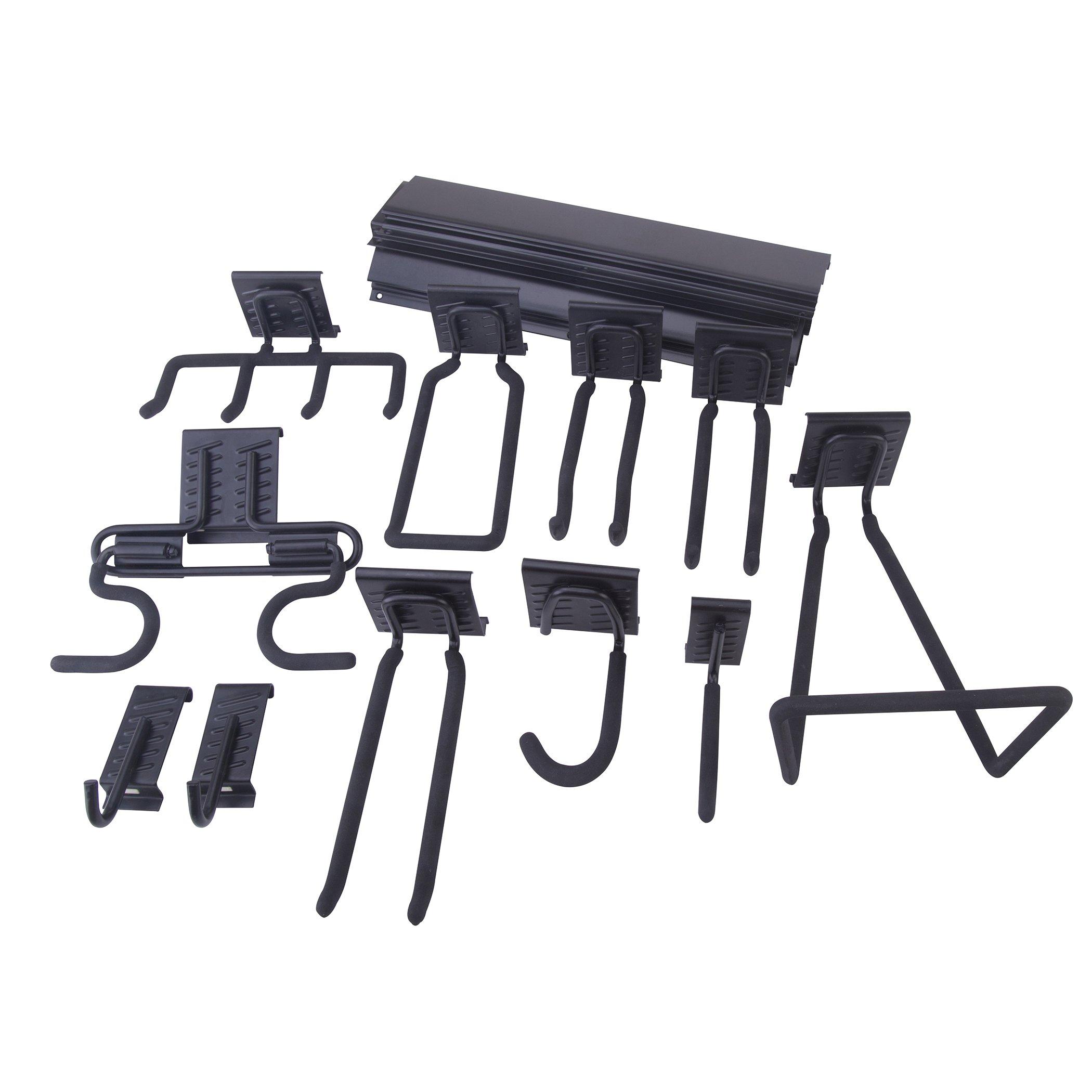 Topline 18-Piece Heavy Duty Garage Storage Utility Hooks Rack Set Multi-Tools Wall Mount Organizer/Hanger Anti-Slip Coating